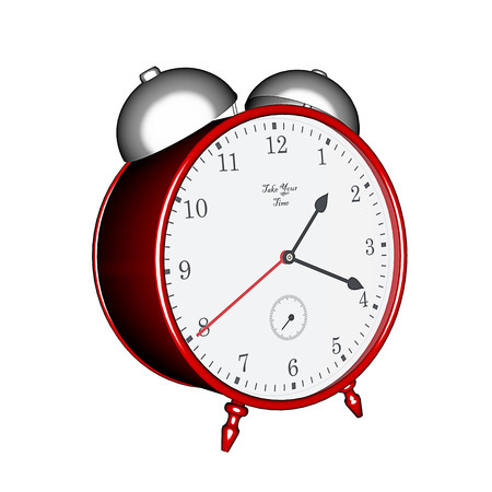 fashioned: 3D rendering, old fashioned table clock with alarm