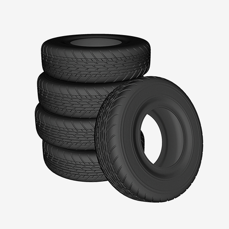 car driving: Stack of five piled tires for car driving, 3D rendering