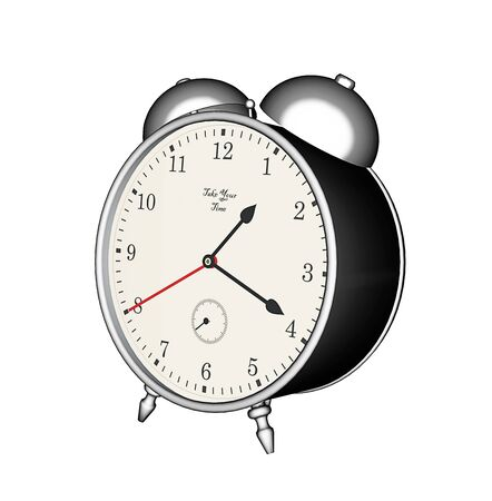 old fashioned: 3D rendering, old fashioned table clock with alarm