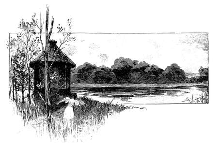 contryside: Vintage illustration, gils walks on riverbank to a rustic cabin with straw roof