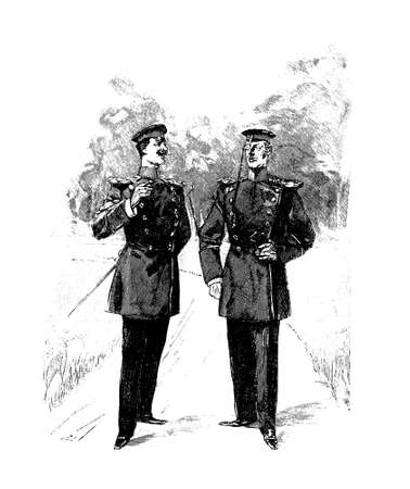 Vintage illustration, two army officers with monocle converse smoking cigars