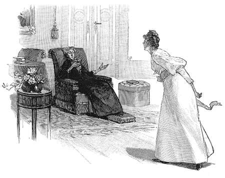two women talking: Vintage illustration, girl argues animately with older woman sitting and reading a book in the drawing room
