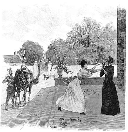 contryside: Vintage illustration: Receiving a letter, girl shows to an old lady a message delivered by horseback
