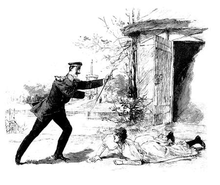 contryside: Vintage illustration, army officer helps a girl stumbled across a door