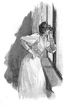 fancy girl: Vintage illustration, girl with fancy dress looks out of the window, curious