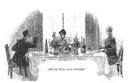 officers: two gentlemen officers and a young lady make a tost with a glass wine sitting at table