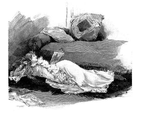 sprawled: Vintage illustration girl reading a magazine sprawled on the floor