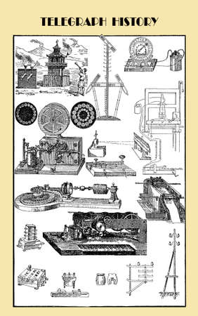 morse code: Vintage illustration, telegraph history and achievements Stock Photo