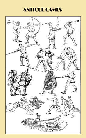 multiple image: Vintage illustration, ancient Greek and Romans sport and games