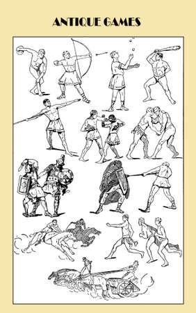 multiple image: Vintage illustration, ancient Greek and Romans sport and games