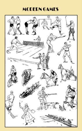 descriptive: Vintage games and sport, descriptive table of different sports