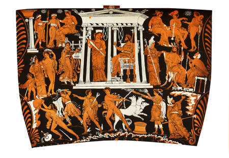 aegean: Ancient Greek vase painting fragment,  gods of the underworld