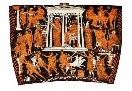 gods: Ancient Greek vase painting fragment,  gods of the underworld