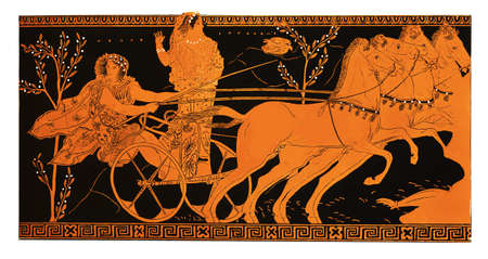 chariot: Antique Greek vase fragment representing Hippodamia and Pelops on a racing chariot