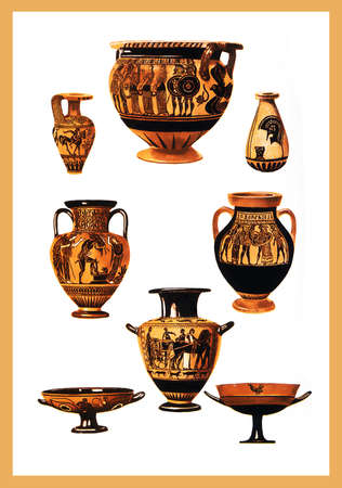 anatolian: Collection of ancien Greek vases with bright colors and mithological scenes Stock Photo