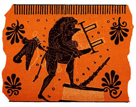anatolian: Lyra player, painting on antique Greek vase, isolated on white