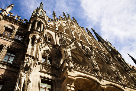 gothic style: Munich, Germany -detail of the beautiful architecture in Gothic style of the City Hall (Rathaus) in Marienplatz