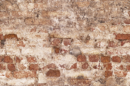 scraped: Grunge vintage wall  HD seamless background with red bricks and scraped limework Stock Photo