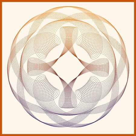 signet: Abstract line art symmetric and circular pattern with blue,brown and orange fading colors to be used as logo, signet, seal, textured tile element