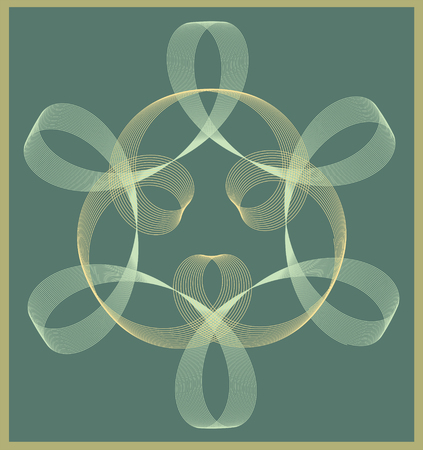 signet: Decorative geometric and symmetric shape with faded colors on green background for , signet, seal, textured tile element Stock Photo