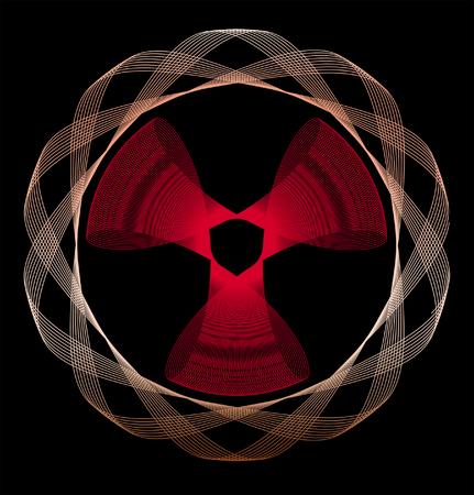 radioactivity: Abstract line art pattern, similar to radioactivity sign on black background Stock Photo