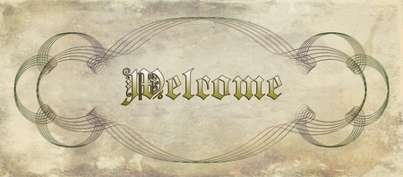worn: vintage welcome placard with antique font and spiraliform decoration on worn and grunge background Stock Photo