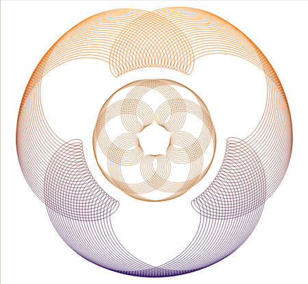 lobes: Round abstract pattern with three lobes and spiral elements