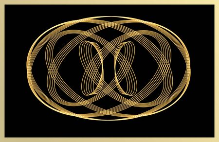 signet: Abstract line art, vintage elaborated golden pattern on black background to be used as signet, ,tile texture,icon,emblem Stock Photo