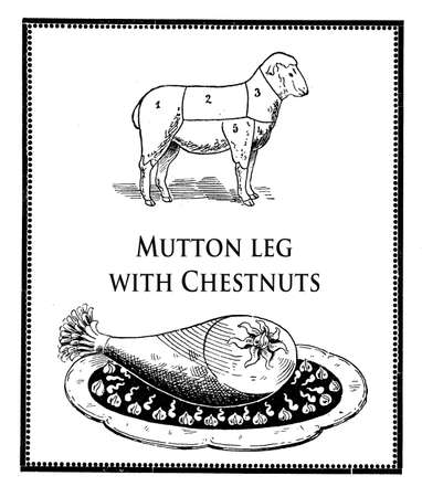 Vintage cuisine illustration collage, roasted mutton leg and animal diagram with numbered cuts