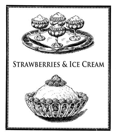 ice cream sundae: Vintage cuisine illustration collage,delicious  strawberries with wipped cream and ice cream sundae Stock Photo