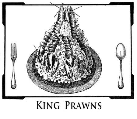 prawns: Vintage cuisine illustration collage, art deco frame with king prawns served at table