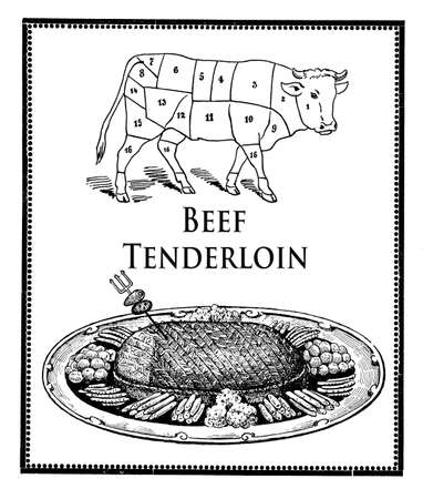 bovine: Vintage cuisine illustration collage, roasted beef filet and bovine table with numbered cuts