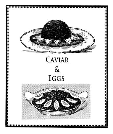 boiled eggs: Vintage cuisine illustration collage,black caviar table presentation with triangles of toasted bread and sliced boiled eggs