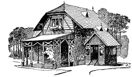 veranda: illustration, wooden country house with porch veranda, small chalet and wood behind Stock Photo