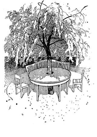 lush foliage: Vintage illustration, enjoyable cozy corner in the garden under a tree shade with a round table  built around the trunk, chairs and bench