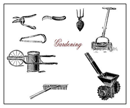 sowing: Vintage illustration, gardening and agriculture tools, saw,knife,hoe,rake,sowing machine,chariot with bin,mowing machine Stock Photo