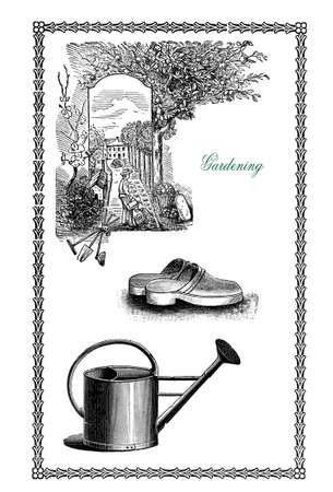 clogs: Vintage elegant frame with gardening illustration,floral decorations,watering can,tools and wooden shoes