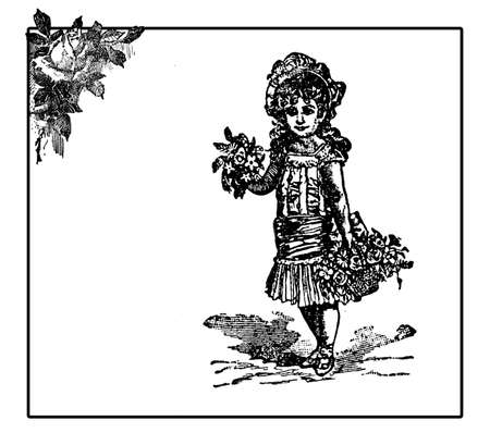 flower baskets: Vintage illustration, frame with rose decoration and little girl with fancy dress and hat carrying flower baskets