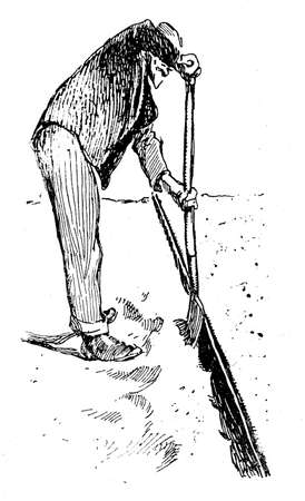 sowing: Agriculture vintage illustration, farmer digs a border with a spade to prepare soil for sowing plants Stock Photo