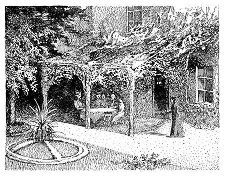 under view: Vintage illustration, people sitting under a pergola in shadow with the view of the beautiful garden surrounding the house