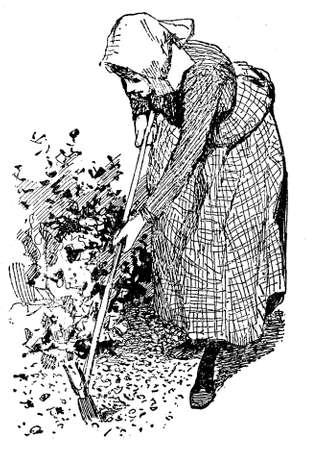 siembra: Jardinería ejemplo del vintage, mujer con obras azada en el jardín para preparar el suelo para la siembra