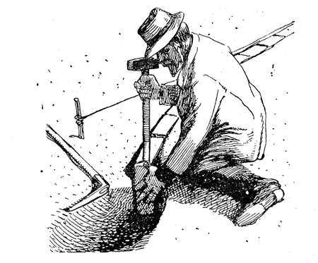 flower bed: Gardening vintage illustration, farmer prepares a border of bricks in the garden delimiting a flower bed using hammer and pickax