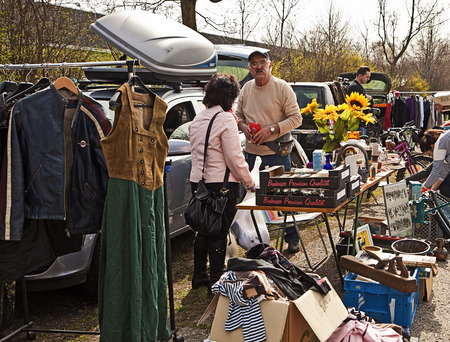 bargains: Eching, Germany - bargains at the first spring open air flea market of the season in a quiet rural corner Editorial