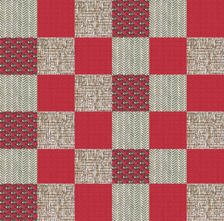 patched: Collage of textile snippets digitally patched, project for a quilt red and brown