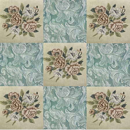 patched: Collage of textile snippets digitally patched, project for a quilt green, beige, brown with stitched flowers