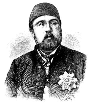 is magnificent: Ismail the Magnificent, Ismail Pasha engraving  portrait Stock Photo