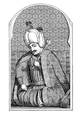 Selim I, Sultan of the Ottoman Empire in XVI century, engraving portrait