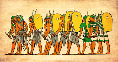 warriors: Painted elaboration  representing Ancient Egypt warriors going to battle