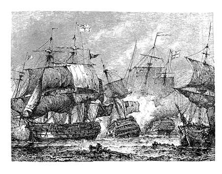 bonaparte: Vintage engraving illustration describing the naval battle of Abukir in which Napoleon Bonaparte defeated the Ottoman army in 1799 Editorial