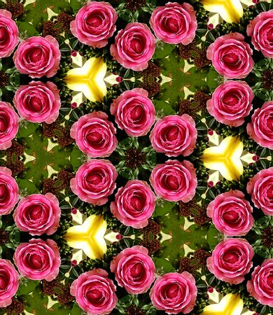 kaleidoscop: HD seamless texture, crown of pink roses with kaledoiscopic effect